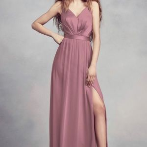 Vera Wang Charmeuse and Chiffon Dress